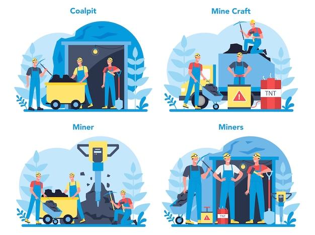 Zestaw koncepcji wydobycia węgla lub minerałów. pracownik w mundurze i hełmie z kilofem, młotem pneumatycznym i taczką pracujący pod ziemią. zawód branży wydobywczej.