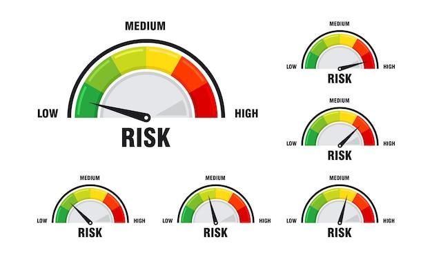 Zestaw koncepcji wysokiego ryzyka na ilustracji wektorowych prędkościomierza, ikona prędkościomierza. kolorowa infografika wektor elementu miernika