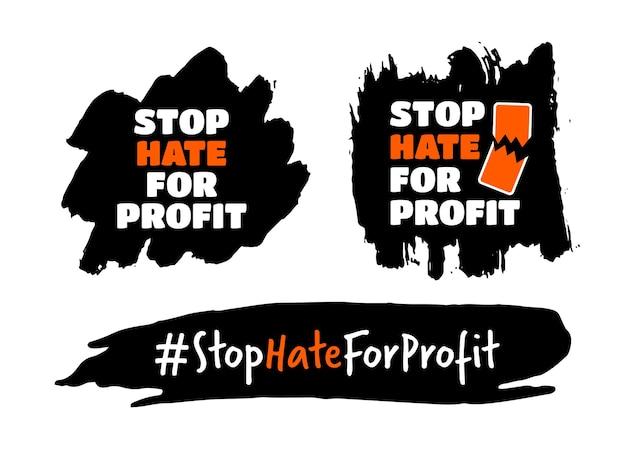 """Zestaw koncepcji """"zatrzymaj nienawiść dla zysku"""" kampania bojkotu mediów społecznościowych przeciwko rasizmowi z nienawiści"""