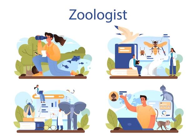 Zestaw koncepcji zoologa. ilustracja wektorowa na białym tle