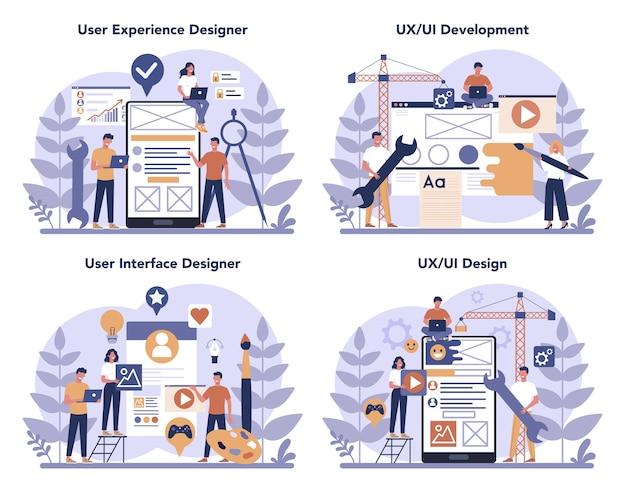 Zestaw koncepcyjny projektanta ux ui. ulepszenie interfejsu aplikacji dla użytkownika. koncepcja nowoczesnej technologii. ilustracja wektorowa płaski