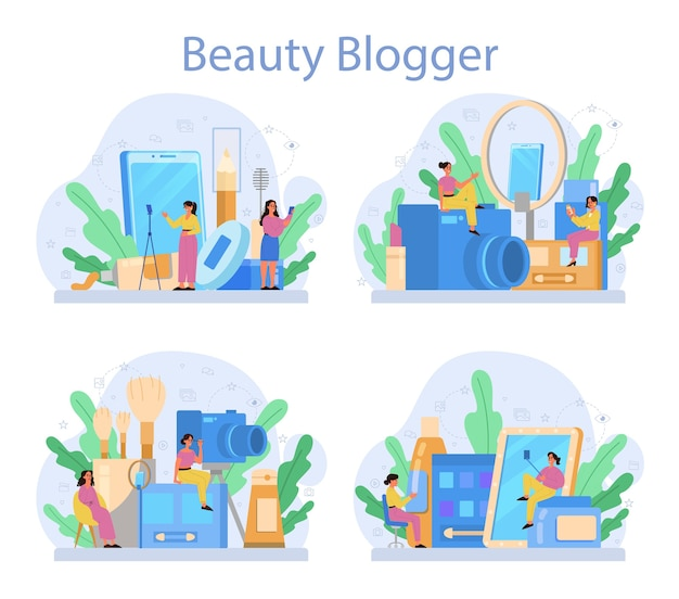 Zestaw koncepcyjny wideo beauty blogger. gwiazda internetowa w sieci społecznościowej. popularna blogerka robi makijaż.
