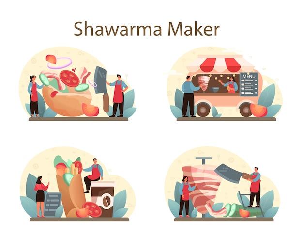 Zestaw koncepcyjny żywności ulicznej shawarma.