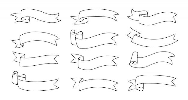 Zestaw konspektu wstążki. taśma ozdobna zagięta z jednej strony kolekcji ikon. nowoczesny design, liniowe wstążki szkicują styl kreskówki. zestaw ikon w sieci web banera tekstowego. ilustracja na białym tle
