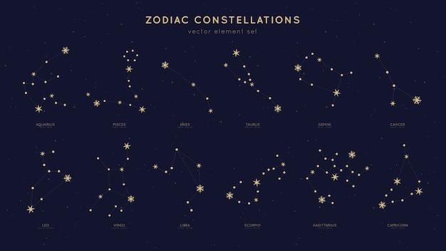 Zestaw konstelacji zodiaku