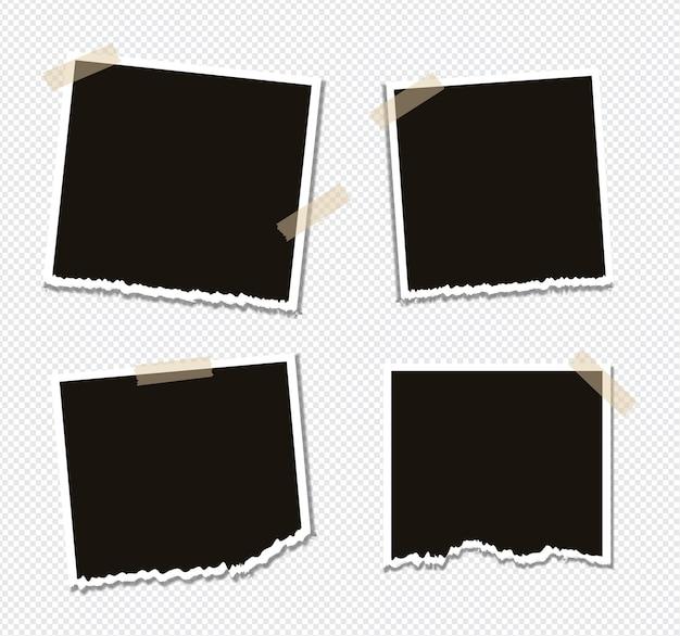 Zestaw konstrukcji ramki na zdjęcia na taśmie klejącej na przezroczystym tle
