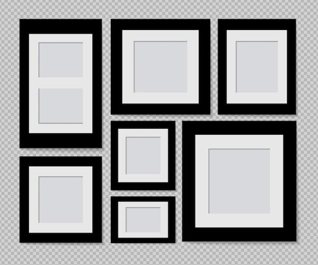 Zestaw Konstrukcji Ramki Na Zdjęcia Na Taśmie Klejącej Na Przezroczystym Tle Premium Wektorów