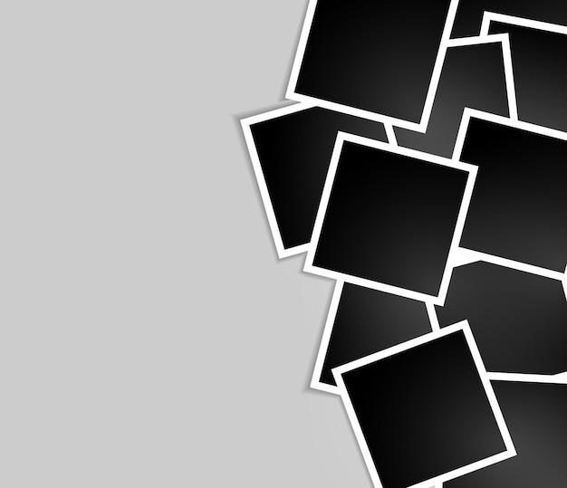 Zestaw konstrukcji ramki na zdjęcia na taśmie samoprzylepnej na przezroczystym tle