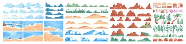 Zestaw konstruktora tropikalnej plaży. letni krajobraz, morze lub ocean