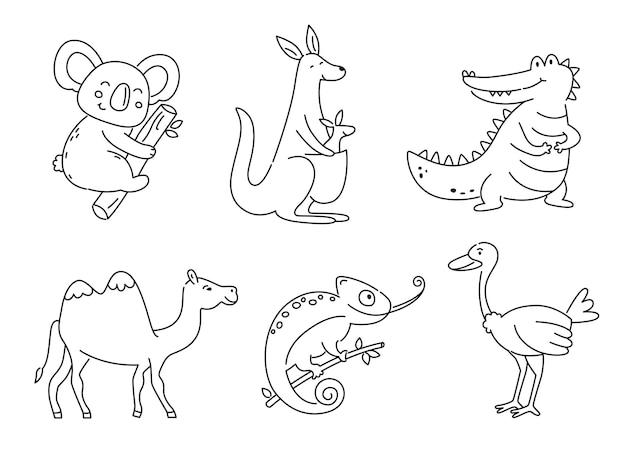 Zestaw konturów australijskich zwierząt na białym tle