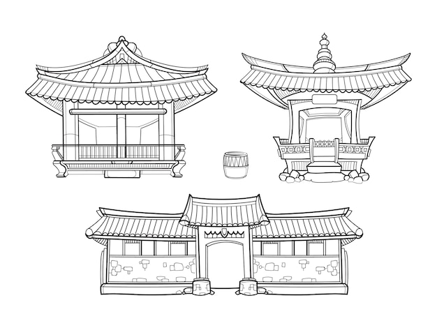Zestaw konturów wektor koreańskiej architektury koreańskiej hanok. dom pałacowy, architektura kultura azjatycka wieś, ilustracja domu azjatyckiego