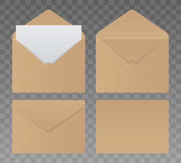 Zestaw kopert papierowych w różnych widokach, na przezroczystym tle. realistyczne brązowe koperty