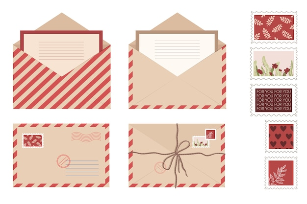 Zestaw kopert z papieru pakowego i kart pocztowych. odosobnione otwarte koperty ze znaczkami i pieczęciami