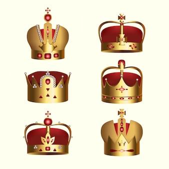 Zestaw koron monarchii złoty na białym tle
