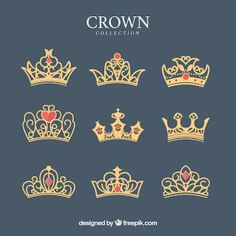 Zestaw koron ozdobnych z czerwonymi klejnotami