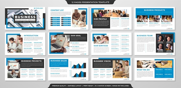 Zestaw korporacyjnego szablonu układu slajdów w stylu premium