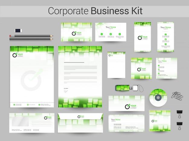 Zestaw korporacyjny w kolorach zielonym i białym.