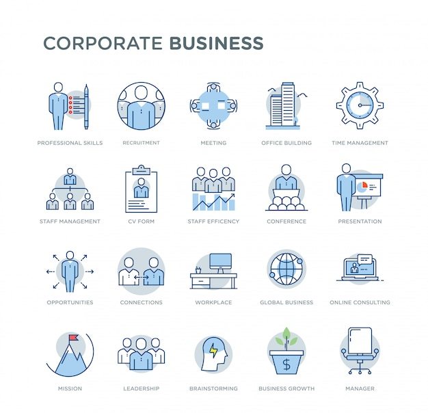 Zestaw korporacyjnych biznesowych związanych wektor kolorowe ikony. zawiera takie ikony, jak umiejętności zawodowe, rozwój biznesu, rekrutacja, doradztwo online, przywództwo