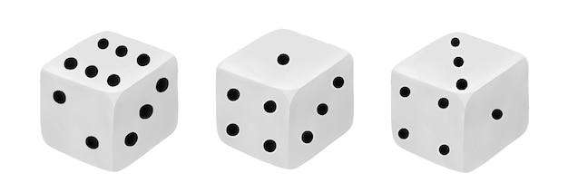 Zestaw kości do kości w kasynie do gier planszowych na białym tle