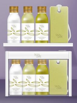 Zestaw kosmetyczek podróżnych z małą zakręcaną butelką i mydelniczką. projekt tematyczny lemon verbena.