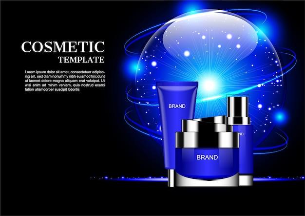 Zestaw kosmetyczny i niebieski świeci glob