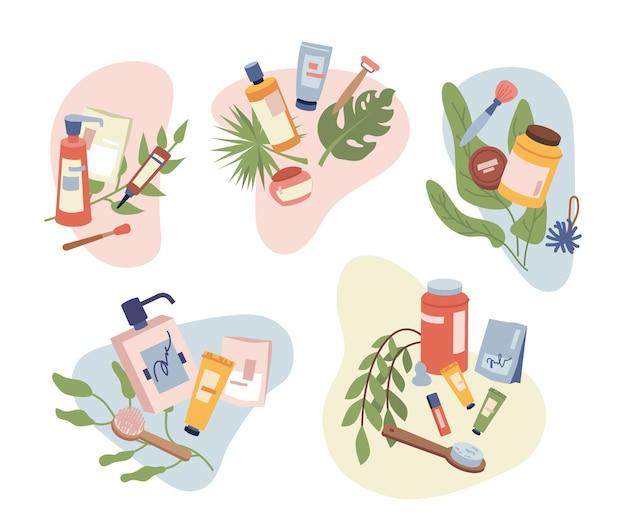 Zestaw kosmetycznych organicznych kosmetyków naturalnych włosów ciała produktów do pielęgnacji twarzy pędzel do masażu i leczenie