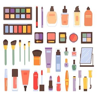 Zestaw kosmetyków do makijażu na białym tle. kosmetyki do tuszu do rzęs, pędzli, cieni, pudru, lakierów, kredki do brwi, szminki, podkładu. kosmetyki. ilustracja wektorowa w stylu płaski.