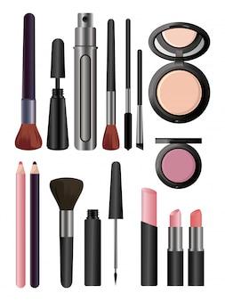Zestaw kosmetyków do makijażu na białym tle