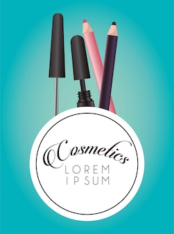 Zestaw kosmetyków do makijażu okrągłej ramki