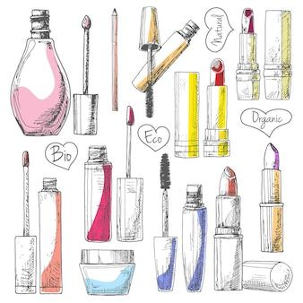 Zestaw kosmetyków do makijażu. szminki, tusz do rzęs, krem na białym tle. ilustracja stylu szkicu.