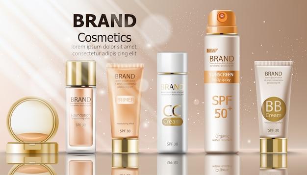 Zestaw kosmetyków do makijażu w kolorze beżowym z kremem