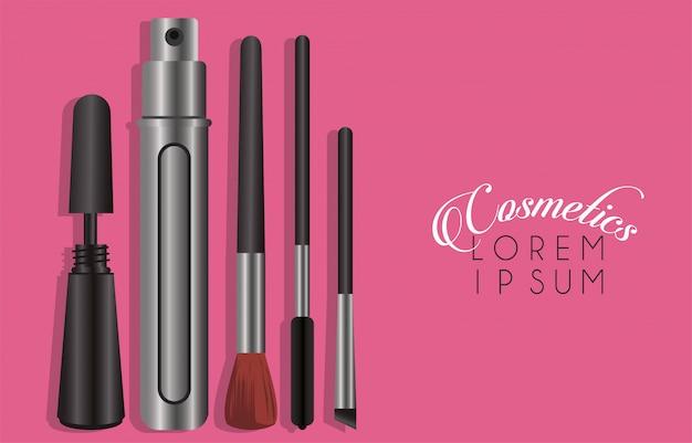 Zestaw kosmetyków do makijażu z napisem