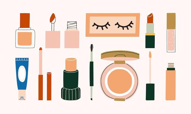 Zestaw kosmetyków do makijażu z podkładem, tintem, sztuczną rzęsą, szminką, błyszczykiem, konturówką do ust, korektorem, kredką do brwi, poduszką i ilustracją korektora.