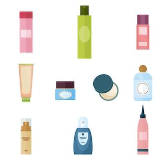 Zestaw kosmetyków do nakładania makijażu. pojęcie piękna. środki nawilżające i pielęgnacyjne. ilustracja kreskówka płaski wektor. obiekty na białym tle.