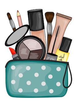 Zestaw kosmetyków do wizażu.