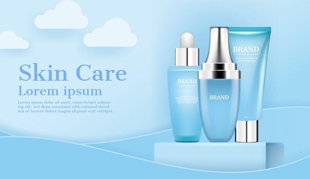 Zestaw kosmetyków i kosmetyków do pielęgnacji skóry na stojaku