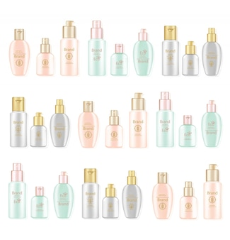 Zestaw kosmetyków krem i balsam wektor realistyczne makiety. kremowe butelki nawilżające z logo