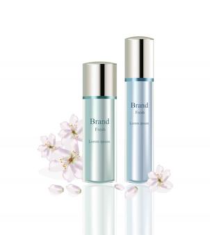 Zestaw kosmetyków lotion wektor realistyczne makiety. zielony pakiet krem nawilżający do butelek i kwiatów