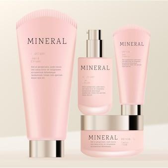 Zestaw kosmetyków lub produktów do pielęgnacji skóry z matowego szkła z okrągłym uszczelniającym środkiem czyszczącym lub słoikiem z kremem i butelką z pompką do serum