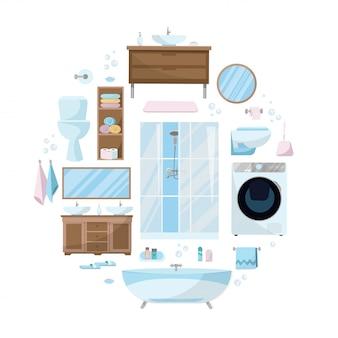 Zestaw kosmetyków, mebli, urządzeń sanitarnych, wyposażenia i artykułów higienicznych do łazienki