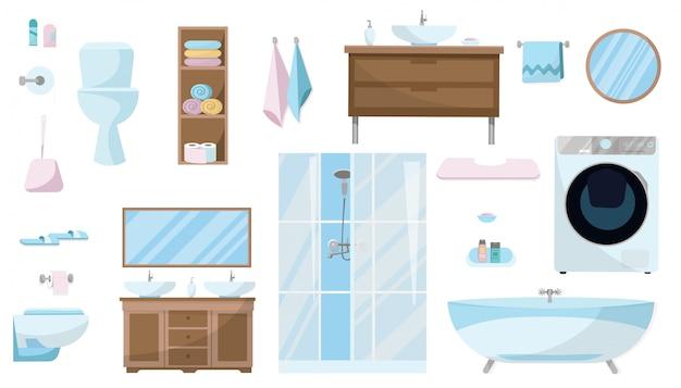 Zestaw kosmetyków, mebli, urządzeń sanitarnych, wyposażenia i artykułów higienicznych do łazienki.