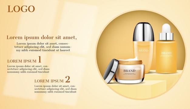 Zestaw kosmetyków na reklamie w kręgu