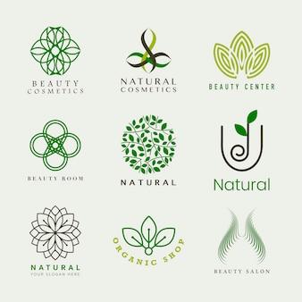 Zestaw kosmetyków naturalnych logo wektor