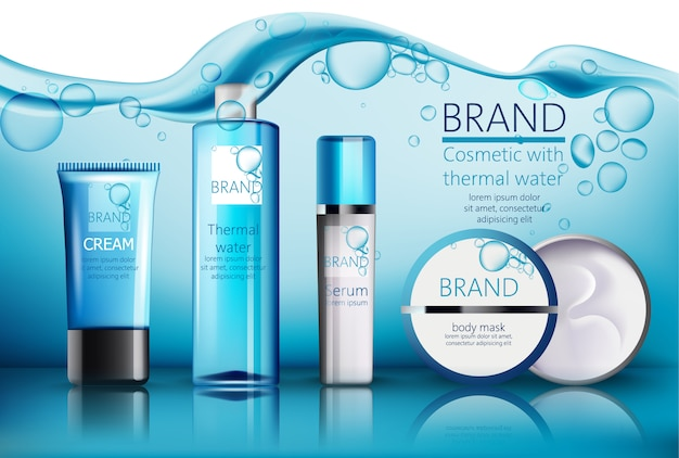 Zestaw kosmetyków z miejscem na tekst. woda termalna, serum, krem, maska na ciało. realistyczne. lokowanie produktu. woda z bąbelkami na tle