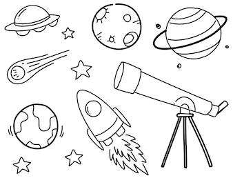 Zestaw kosmicznych doodli