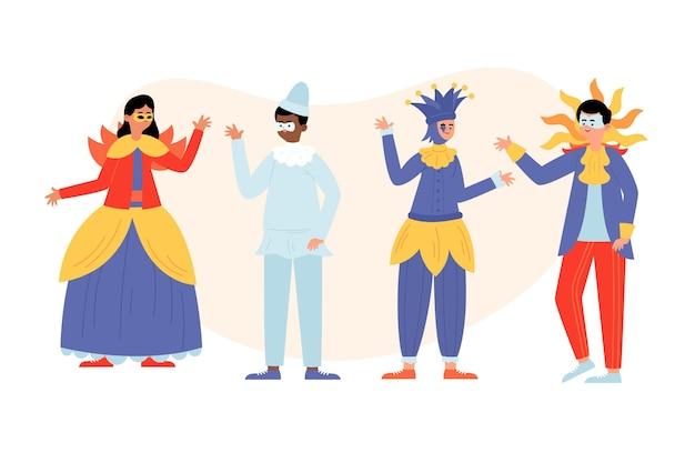 Zestaw kostiumów postaci weneckiego karnawału