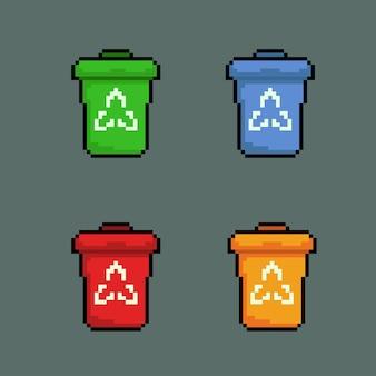 Zestaw kosza na śmieci w stylu pixel art