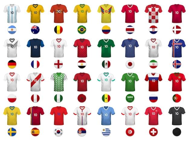 Zestaw koszulek i flag reprezentacji narodowej w piłce nożnej.