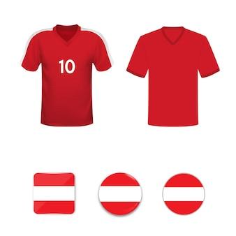 Zestaw koszulek piłkarskich i flag reprezentacji austrii