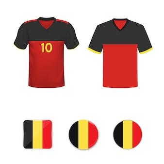 Zestaw koszulek piłkarskich i flag reprezentacji belgii